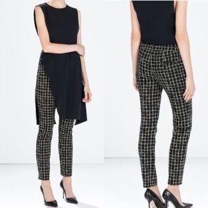 Zara window pane print ankle trousers